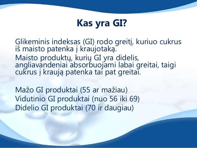 Glikeminio indekso taikymas yra ganakomplikuotas, nes jo dydį lemia nemažaiveiksnių:•maisto paruošimo būdas, trukmė•anglia...