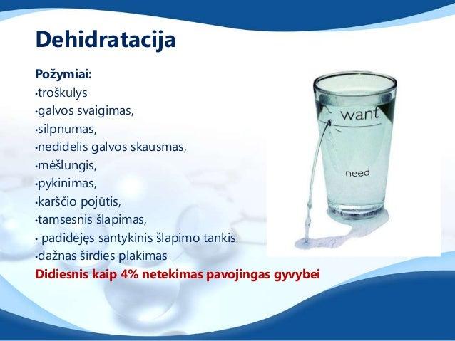 Vieno kilogramo skysčių netekimas po krūvioreikalauja 1 litro vandens atsistatymui.Vanduo turi būti geriamas visos dienos ...