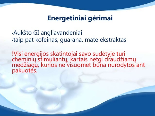 Energetiniai gėrimai 10-60 minučių prieš treniruotęgali pagerinti:•susikaupimą,•budrumą,•anaerobinę veiklą,•ištvermę,tačia...