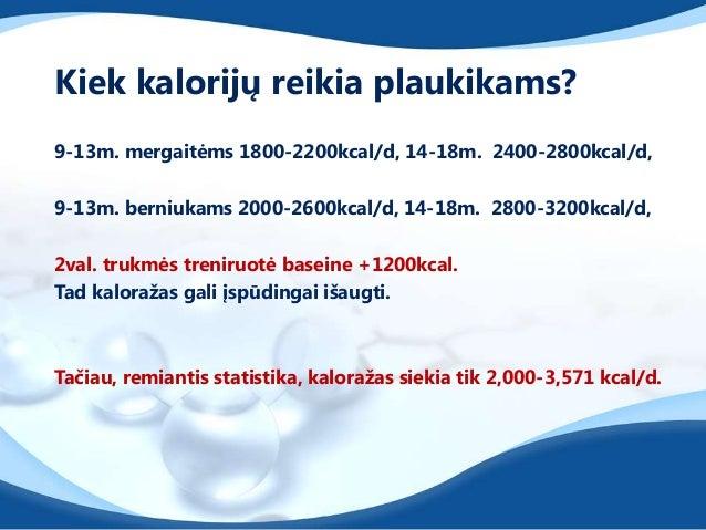 Kiek kalorijų reikia plaukikams?9-13m. mergaitėms 1800-2200kcal/d, 14-18m. 2400-2800kcal/d,9-13m. berniukams 2000-2600kcal...