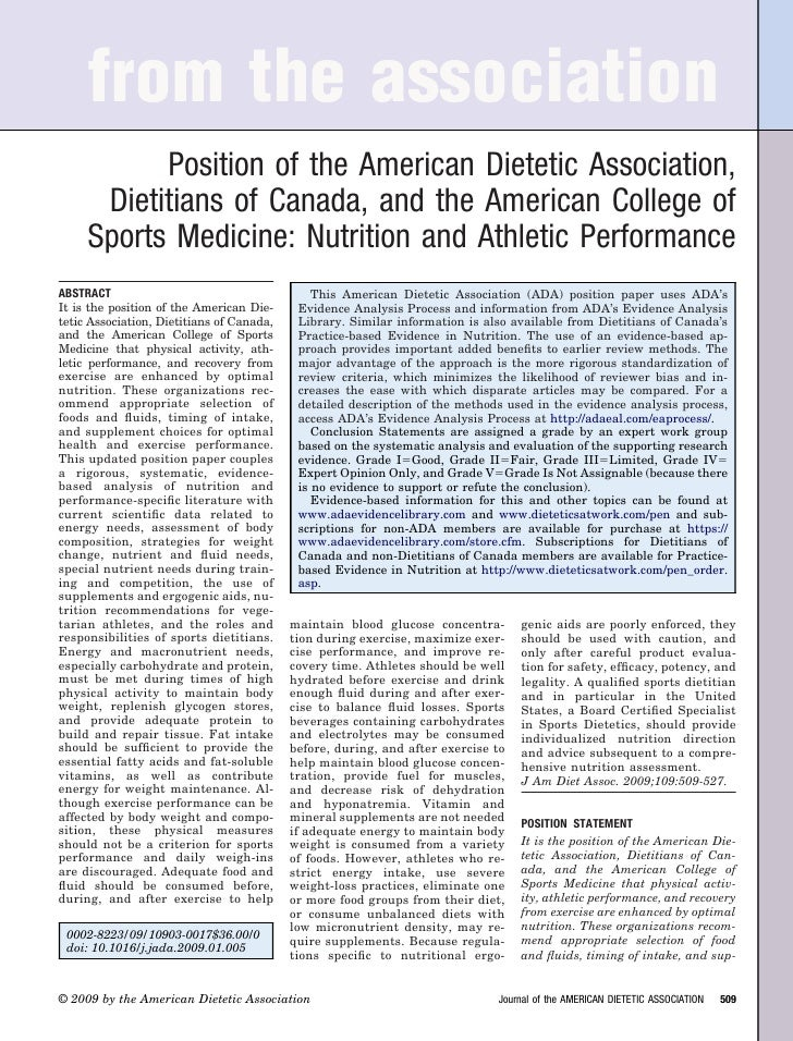 from the association            Position of the American Dietetic Association,       Dietitians of Canada, and the America...