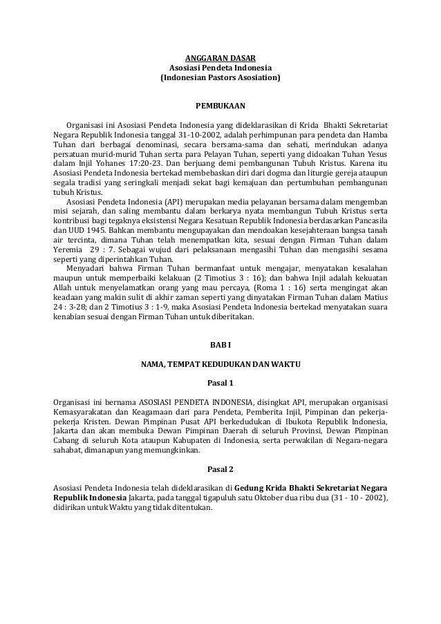 ANGGARAN DASAR Asosiasi Pendeta Indonesia (Indonesian Pastors Asosiation) PEMBUKAAN Organisasi ini Asosiasi Pendeta Indone...