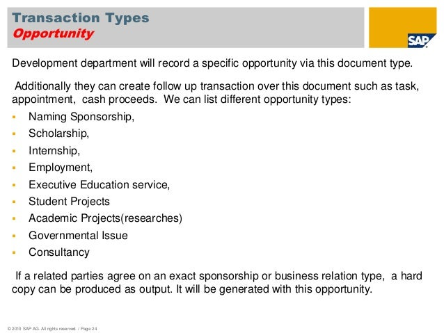 Ada sap crm business blueprint presentation page 23 24 transaction types opportunity development malvernweather Images