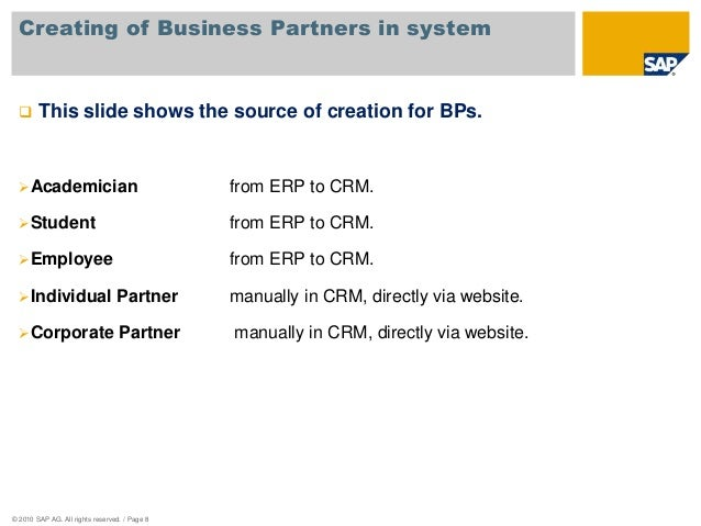 Ada sap crm business blueprint presentation partner organization 8 creating of business malvernweather Gallery