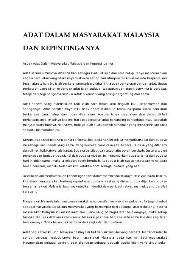 Adat Dalam Masyarakat Malaysia Dan