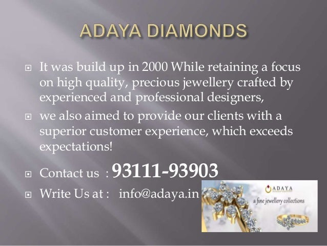 Online Diamond Jewelry shopping store Adaya in Call us at 93111-939…