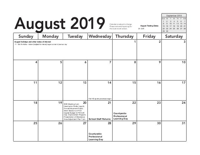 HCPSS A Day B Day Schedule 2019-20