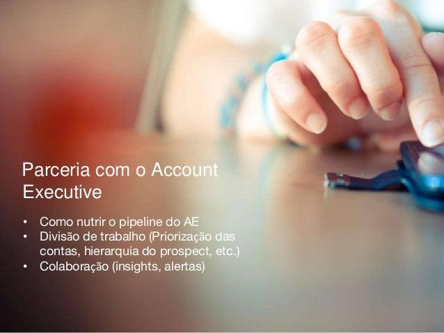 Parceria com o Account Executive • Como nutrir o pipeline do AE • Divisão de trabalho (Priorização das contas, hierarquia ...