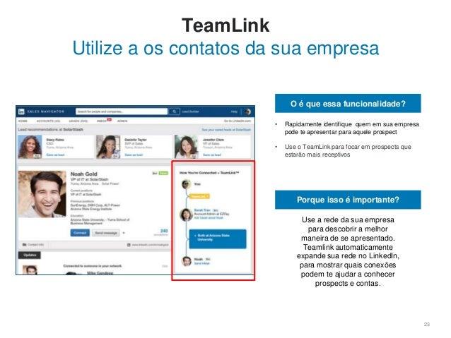 23 TeamLink Utilize a os contatos da sua empresa O é que essa funcionalidade? • Rapidamente identifique quem em sua empres...