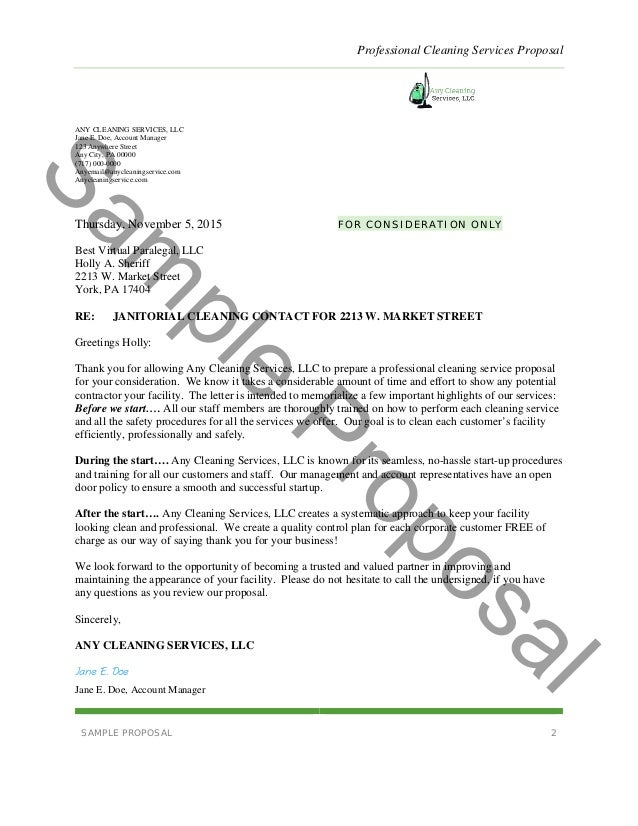 Professional cleaning services proposal for Cleaning services proposal letter