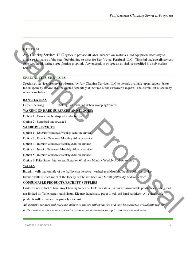 Sample Proposal Contract Business Proposal Template 09 30 – Cleaning Contract Template