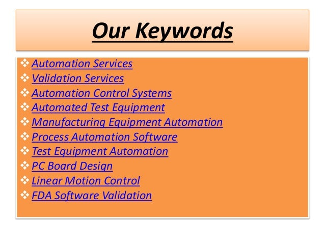 ADB Automation and Validation Group Automation Control Systems Slide 3