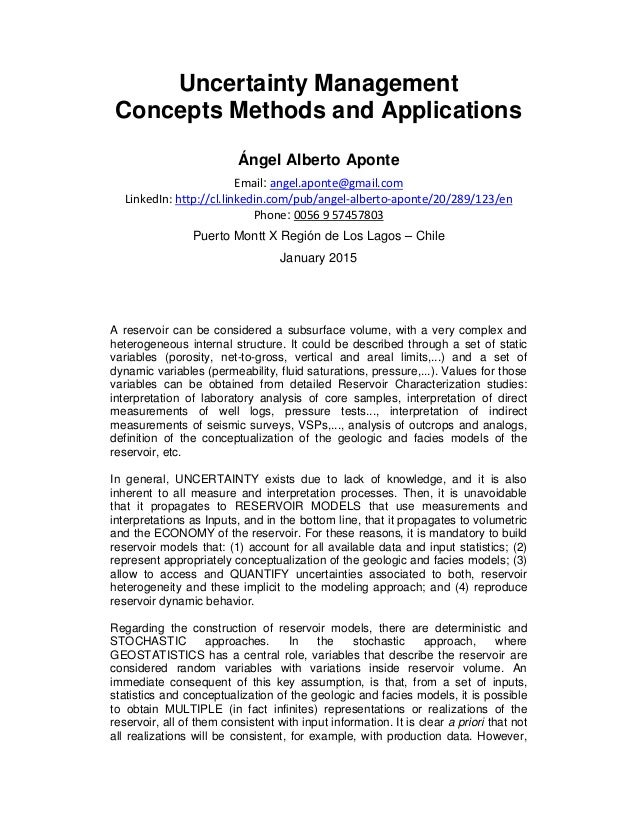 Uncertainty Management Concepts Methods and Applications Ángel Alberto Aponte Email: angel.aponte@gmail.com LinkedIn: http...