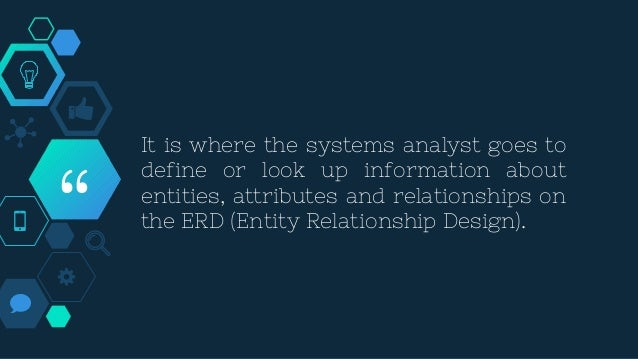 """"""" It is where the systems analyst goes to define or look up information about entities, attributes and relationships on th..."""