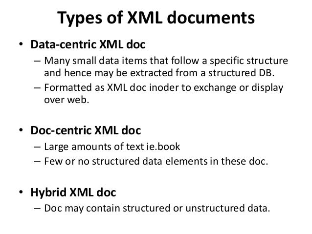 XML vs. Relational Database XML Database • XML data is hierarchical • XML data is self-describing • XML data has inherent ...
