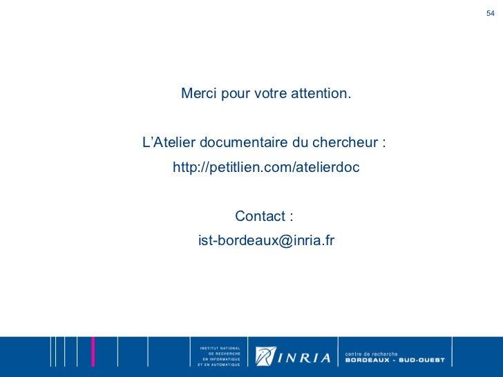 Atelier Documentaire Du Chercheur 224 L Inria