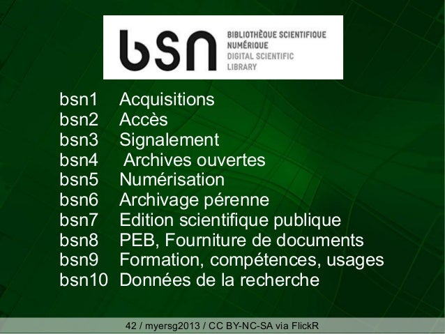 bsn1 Acquisitions bsn2 Accès bsn3 Signalement bsn4 Archives ouvertes bsn5 Numérisation bsn6 Archivage pérenne bsn7 Edition...