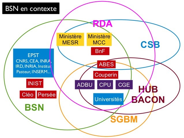 CSB SGBM HUB BACON BSN BSN en contexte Ministère MESR Universités BnF CGEINIST Ministère MCC ABES Couperin PerséeCléo CPU ...