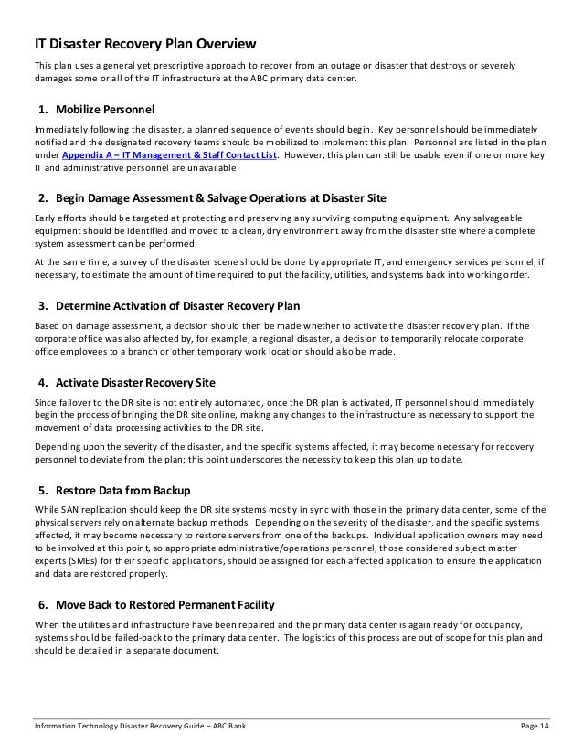 Information Technology Disaster Recovery Guide - ABC Bank (redacted)