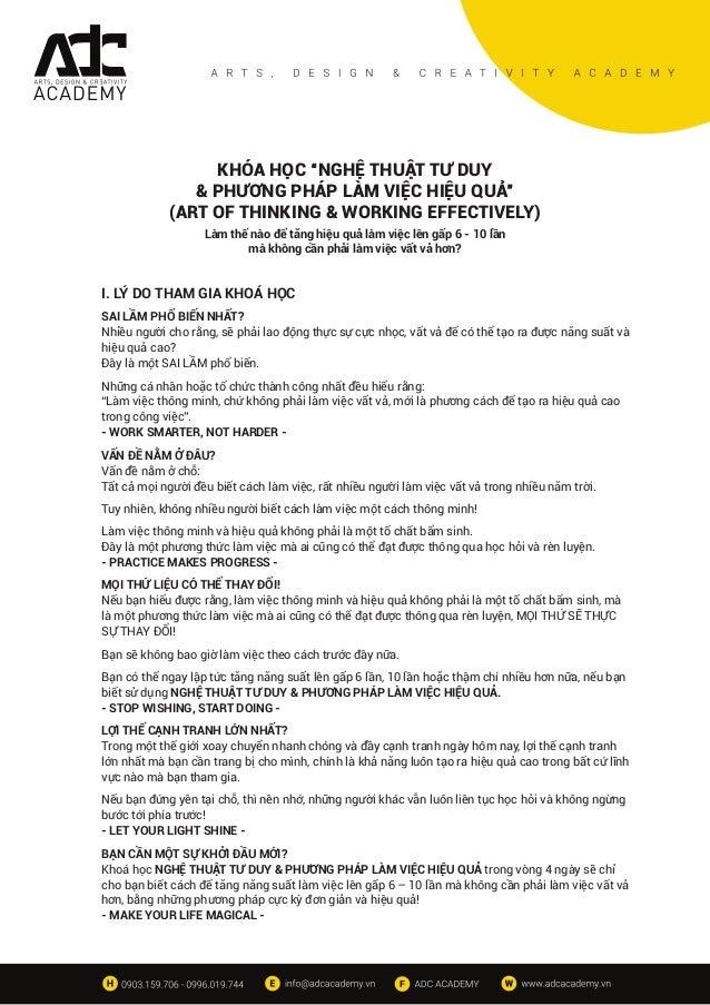"""KHÓA HỌC """"NGHỆ THUẬT TƯ DUY & PHƯƠNG PHÁP LÀM VIỆC HIỆU QUẢ"""" (ART OF THINKING & WORKING EFFECTIVELY) Làm thế nào để tăng h..."""