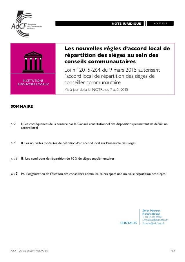 NOTE JURIDIQUE       AOÛT 2015       _ AdCF – 22, rue Joubert 75009 Paris 1/13    Les nouv...