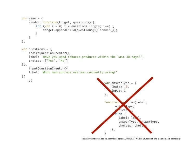var view = {    render: function(target, questions) {        for (var i = 0; i < questions.length; i++) {             targ...