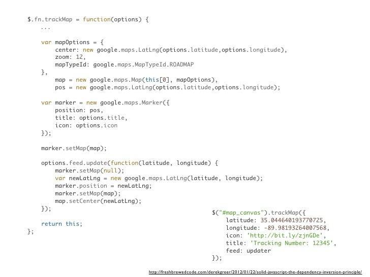 $.fn.trackMap = function(options) {    ...     var mapOptions = {         center: new google.maps.LatLng(options.latitude,...