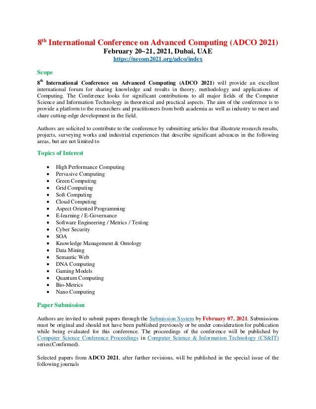 8th International Conference on Advanced Computing (ADCO 2021) February 20~21, 2021, Dubai, UAE https://necom2021.org/adco...