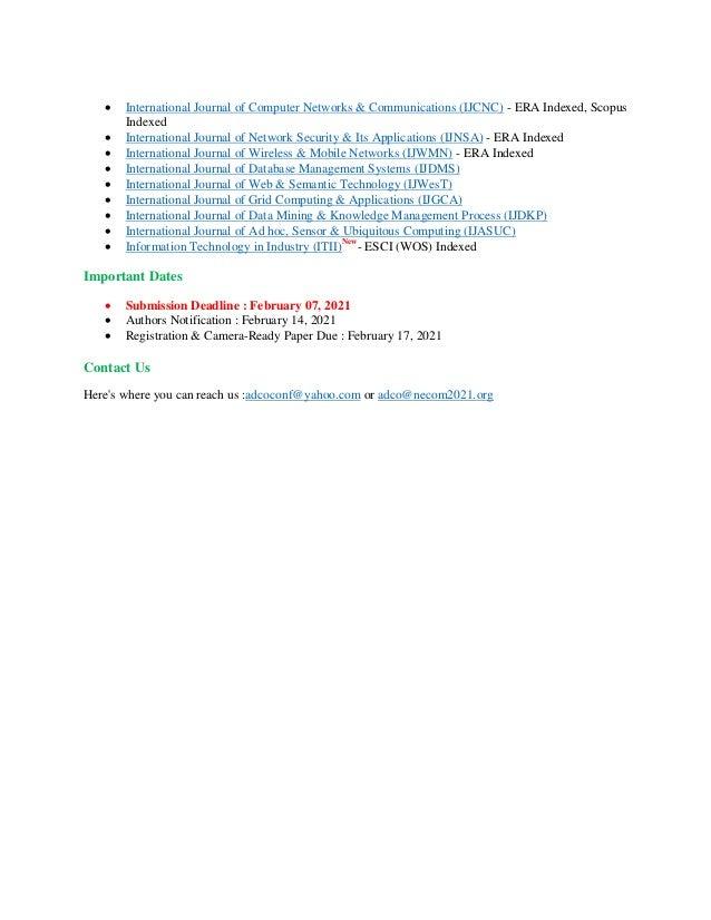  International Journal of Computer Networks & Communications (IJCNC) - ERA Indexed, Scopus Indexed  International Journa...