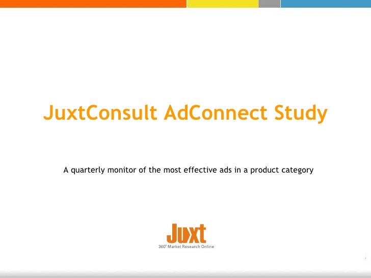 A quarterly monitor of the most effective ads in a product category JuxtConsult AdConnect Study