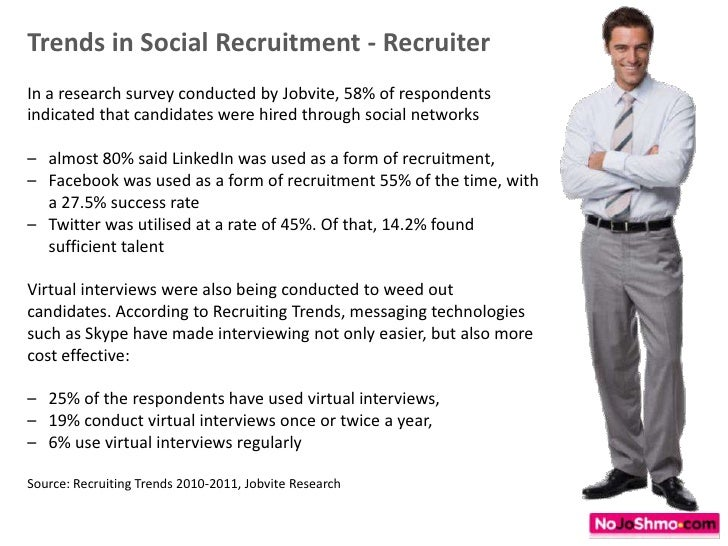 Trends in Social Recruitment - Recruiter<br />In a research survey conducted by Jobvite, 58% of respondents indicated that...