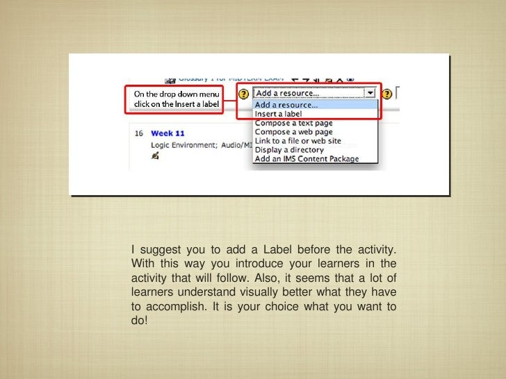 I suggest you to add a Label before the activity. With this way you introduce your learners in the activity that will foll...