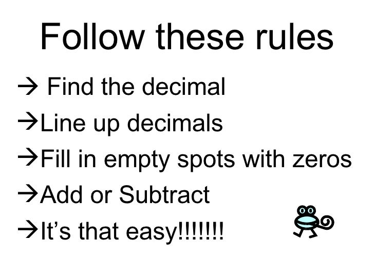 Add And Subtract Deciamls