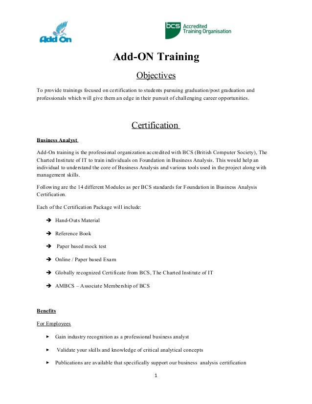 Add On Foundation Business Analysis Certification