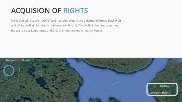 Arctic Star will acquire 100% of 243 hectares around the 2 diamondiferous Black Wolf and White Wolf kimberlites in northea...