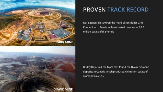 PROVEN TRACK RECORD Roy Spencer discovered the multi-billion-dollar Grib Kimberlites in Russia with estimated reserves of ...