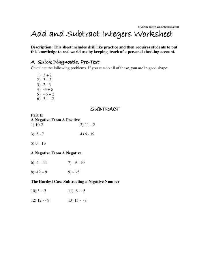 Add subtractintegersworksheet – Adding Subtracting Integers Worksheet