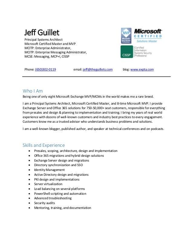 Resume of jeff guillet jeff guillet principal systems architect microsoft certified master and mvp mcitp enterprise administrator altavistaventures Gallery