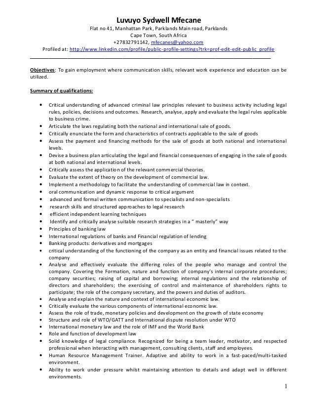 Law review on resume