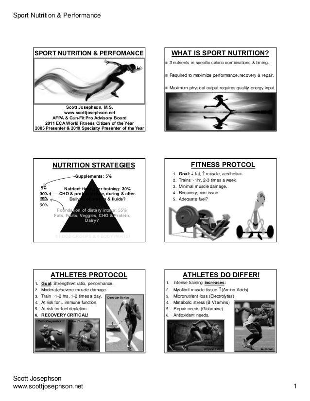 Sport Nutrition & Performance Scott Josephson www.scottjosephson.net 1 Scott Josephson, M.S. www.scottjosephson.net AFPA &...