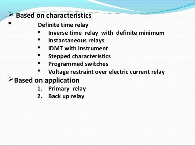 Electric Relay - Current relay characteristics