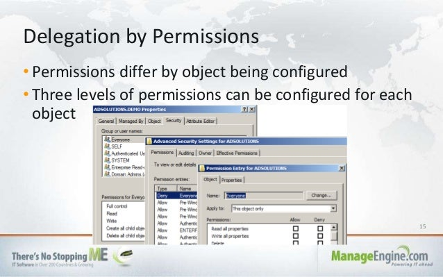 15 • Permissions differ by object being configured • Three levels of permissions can be configured for each object Delegat...
