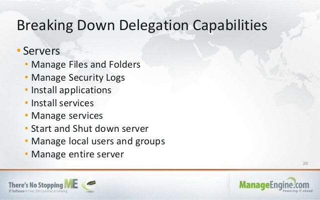 20 • Servers • Manage Files and Folders • Manage Security Logs • Install applications • Install services • Manage services...