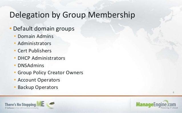 6 • Default domain groups • Domain Admins • Administrators • Cert Publishers • DHCP Administrators • DNSAdmins • Group Pol...