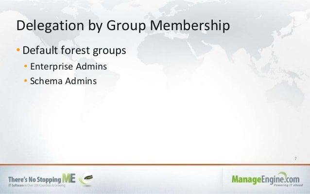 7 • Default forest groups • Enterprise Admins • Schema Admins Delegation by Group Membership