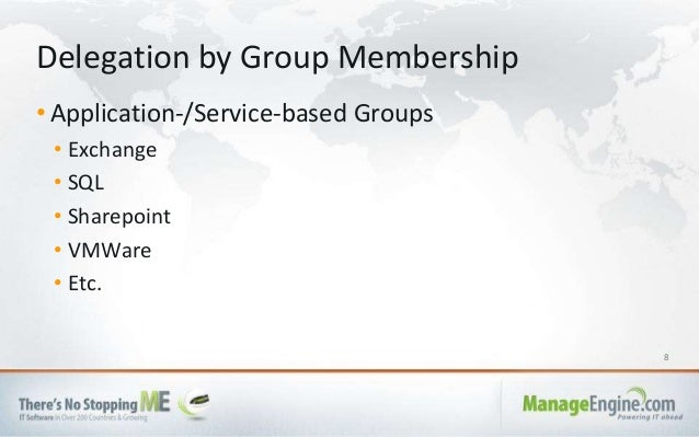 8 • Application-/Service-based Groups • Exchange • SQL • Sharepoint • VMWare • Etc. Delegation by Group Membership