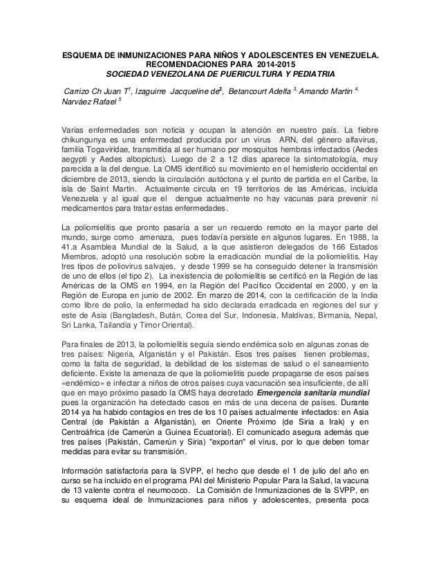 ESQUEMA DE INMUNIZACIONES PARA NIÑOS Y ADOLESCENTES EN VENEZUELA. RECOMENDACIONES PARA 2014-2015  SOCIEDAD VENEZOLANA DE P...