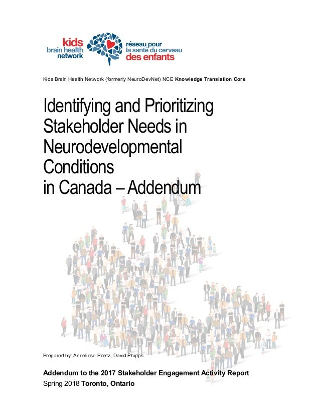 Kids Brain Health Network (formerly NeuroDevNet) NCE Knowledge Translation Core Identifying and Prioritizing Stakeholder N...