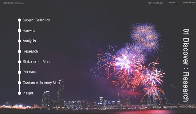 Advertisement Design 서울세계불꽃축제Hwanwha Hanwha Analysis Subject Selection Stakeholder Map Persona Customer Journey Map Insigh...