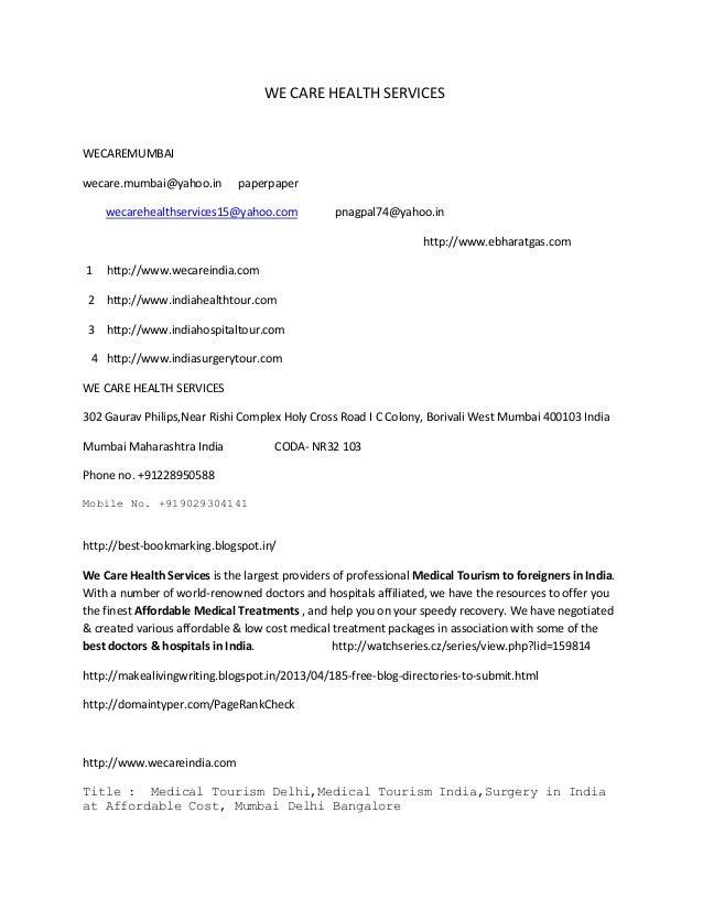 WE CARE HEALTH SERVICES  WECAREMUMBAI wecare.mumbai@yahoo.in  paperpaper  wecarehealthservices15@yahoo.com  pnagpal74@yaho...